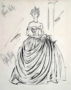 Illustration - Edith Head Sketch for Grace Kelly in To Catch A Thief, 1955