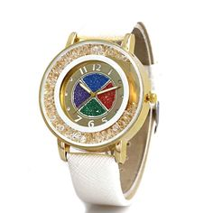 Ladies Dish Wrist Watch Gold Dial Multicolor Leather Quicksand Rhinestone Quartz-watch Relojes Mujer FXA0011NJ