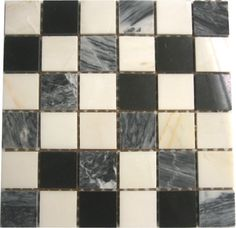 Black White & Grey Marble Stone Mosaic Tiles Sheet. A classically styled tile, this marble mosaic stone tile in monochrome is anything but dull. A timeless, checkerboard style that would be modestly appreciated in any kitchen or bathroom space.