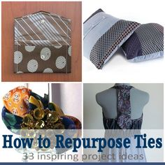 A few good looking projects in here. My favorite is the recycled tie watch band (thrift a tie, thrift a watch face, add a button and you're ready to go!) recycled and repurposed tie DIY Tie Crafts, Fabric Crafts, Sewing Crafts, Sewing Projects, Diy Projects, Diy Necktie Projects, Simple Projects, Sewing Tutorials, Blue Velvet Chairs