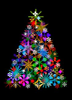 This is really pretty!  It is a quilt, but would be pretty on a black background, made with those plastic, & metal shapes, as lights, forming the tree.