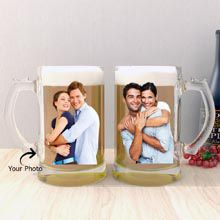 Two Personalised Beer Mugs A gift that is truly special and also unique at the same time is definitely this. This is a set of two beer mugs with frosted glass.