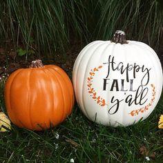 Happy Fall Y'all Vinyl decal pumpkin decal Halloween Fall DIY decal home decor wedding decor Diy Pumpkin, Cute Pumpkin, Large Pumpkin, Pumpkin Ideas, Unique Pumpkin Carving Ideas, Pumpkin Signs, Pumpkin Family, Fall Pumpkins, Halloween Pumpkins