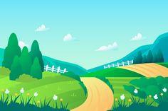 Spring landscape background | Free Vector Powerpoint Background Design, Background Clipart, 3d Background, Animation Background, Backgrounds Free, Green Backgrounds, Landscape Clipart, Ocean Illustration, Diorama