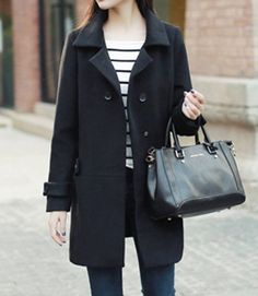 Elegant Style Turn-Down Collar Double-Breasted Long Sleeve Worsted Women's Coat