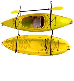 The Gear Up Hang-2 kayak storage strap system is a simple and easy way to store your kayaks up off the ground and out of the way. The storage straps are adjustable and also include quick-release buckles as well for easy loading and unloading. Use indoors or outdoors. Stainless steel heavy-duty eye bolts are included for you to mount into the ceiling or wall. 90lb weight capacity.