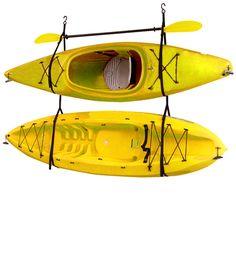 Kayak Storage Ideas Gear Up Inc. Kayak / Canoe Storage and Portage Hang 3 Deluxe Strap Storage System Wall Mounted Kayak Rack - Bike Hooks, Bicycle Rack, Canoe Storage, Garage Storage, Garage Organization, Storage Racks, Hanging Storage, Organizing Ideas, Overhead Storage