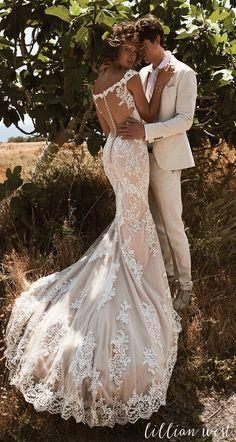 Style 6506: Venice Lace Off the Shoulder Illusion Back Wedding Dress #lillianwest #wedding #weddingdress #bridal #bridalgown #bohobride #bohowedding #outdoorwedding
