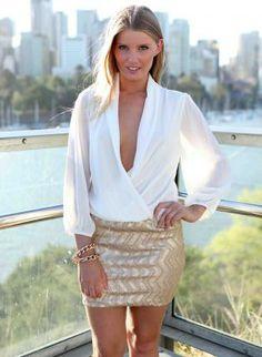 White V Cross Over Drape Bodice Dress with Gold Sequin Skirt,  Dress, white sheer vneck zigzag, Chic