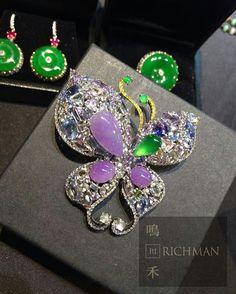Butterfly design always the most popular in jewelry. @jimmyrichman2016 #purplejade #butterflybrooch #jadeitebrooch