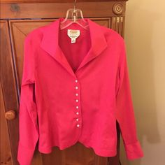 """Pink Talbots button down shirt This pink, wrinkle resistance, stretch blouse is a crisp, professional alternative to a blazer. Easy care! Barely worn!  EUC. 10 Petite. 96% cotton/4% lastol. Machine washable. 22.5"""" long. Orig $90. Talbots Tops Button Down Shirts"""