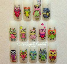 Owl Nail Art, Owl Nails, Minion Nails, Funky Nail Art, Crazy Nail Art, Animal Nail Art, Owl Nail Designs, Cartoon Nail Designs, Christmas Nail Designs