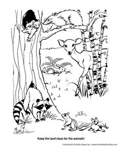 pond ecosystem coloring pages | Earth Day Coloring Pages - Protect natural habitats ...