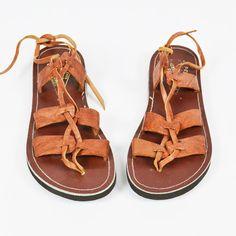 vtg 70s boho hippie ethnic LEATHER STRAPPY LACE-UP GLADIATOR HUARACHE sandals 3 $9.99