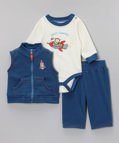 Take a look at this Blue 'Space Cowboy' Bodysuit Set - Infant by Vitamins Baby on #zulily today!