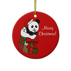 Panda Cartoon Christmas Ornament!!  You can personalize this.
