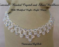 Tutorial for Beaded Modified Right Angle Weave Drop Necklace in Crystal and Silver - DIY Tutorial, PDF Pattern