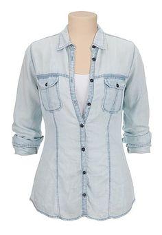 lightweight drape button down denim shirt