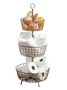 Store your #bathroom supplies in style with this handy storage tower. #organizing #home