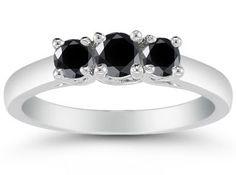 Apples of Gold Carat Three Stone Black Diamond White Ring Black Diamond Jewelry, 14k Gold Jewelry, White Gold Jewelry, Yellow Gold Rings, Jewelry Rings, Diamond Jewellery, Black Rings, Jewelry Trends 2018, Latest Jewellery Trends