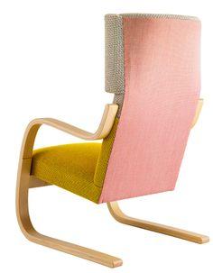 Alvar Aalto's 401 armchair updated by Hella Jongerius with new fabrik for Artek