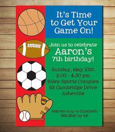 Sports Birthday Invitation  Birthday Party by lollipopsandunicorns, $12.00