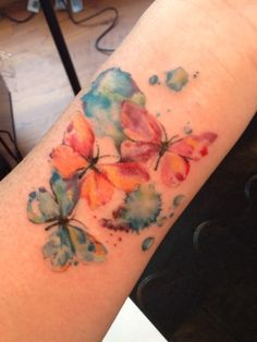 Water color butterfly tattoo by Lindsey Carter @ Opal Ink in Portland, OR