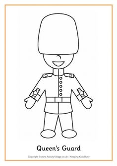 Queens Guard Colouring Page Eyfs Activities, Toddler Activities, Bunting Template, British Values, Queens Guard, Queen 90th Birthday, World Thinking Day, Elisabeth Ii, World Crafts