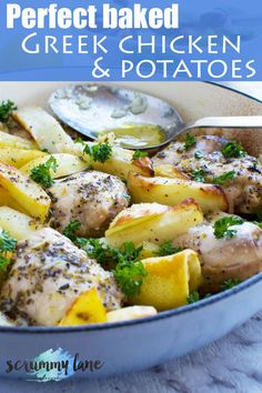 There's a reason this Greek baked chicken and potatoes is one of our go-to meals! Just throw chicken and potatoes into a pan and drizzle with a simple Greek marinade. Don't skip the Greek salad! Stove Top Recipes, Easy Meat Recipes, Greek Recipes, Chicken Recipes, Healthy Recipes, Chicken Ideas, Lemon Recipes, Greek Chicken And Potatoes, Baked Greek Chicken