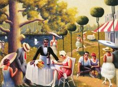 """Archibald John Motley, Jr (American Harlem Renaissance painter, Lawn Party From a selection of his paintings at """"It's About Time"""" African American Artist, African American History, American Artists, American Women, African Art, Archibald Motley, Harlem Renaissance Artists, Lawn Party, Jr Art"""
