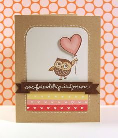 """love the """"faux"""" folded banner with foam squares - great idea for cards! @kwernerdesign.com"""