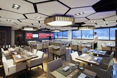 Liverpool Football Club Suite Hexagon Canopies · Akustische  DeckenplattenHolzdeckeSechskant FliesenRestaurant DesignDeckenleuchtenCafeteria  ...