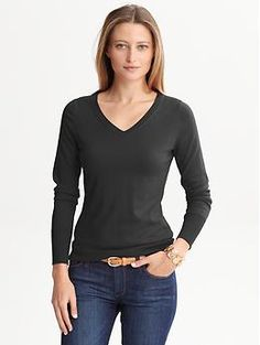 Silk/cotton v-neck sweater | Banana Republic