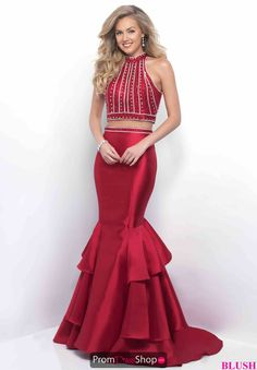High Halter Beaded Blush Dress 11208