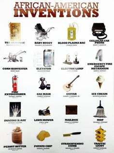 about African American Inventors Poster Black History Famous People Inventions Great for children, schools, etc. A wonderful educational and trivia tool. American History X, African American Inventors, British History, African American Scientists, African American History Timeline, African American Slavery, Native American, African American Culture, American Art