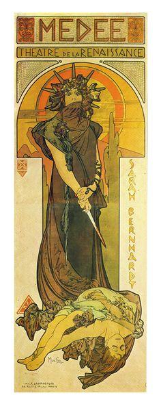 Medee (Medea), Theatre de la Renaissance poster by Alphonse Mucha for Sarah Bernhard play, 1898