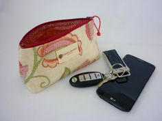 Triangular Zipper Pouch/Red Floral in Light by RoastedChestnuts