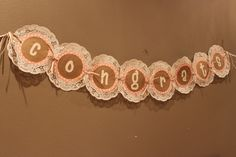 Vintage Girl Baby Shower.  Doiley Banner.  Sihlouette Cameo.  Pink and Brown Banner.  Congrats Banner