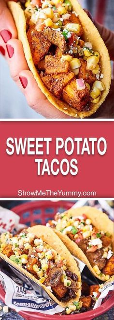 Sweet Potato Tacos are gluten free vegan healthy and oh yeah absolutely DE-LICIOUS! Loaded with sweet potatoes mushrooms black beans and spices these hearty tacos will surely satisfy! Veggie Recipes, Mexican Food Recipes, Vegetarian Recipes, Whole Food Recipes, Cooking Recipes, Healthy Recipes, Vegan Recipes With Sweet Potatoes, Recipes Dinner, Vegetarian Tacos