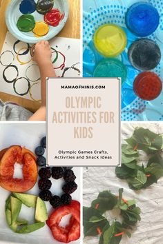 Ideas for two different Olympic crafts, an Olympic sensory activity, and an Olympic snack. Great Olympics activities for kids of all ages.