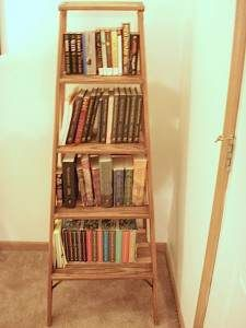 If you have an old step ladder that may be beyond using Action pig over on instructables has a tutorial on how to spiff it up and adapt it into a book Old Wood Ladder, Diy Ladder, Ladder Storage, Bookshelves In Bedroom, Ladder Bookshelf, Bookshelf Ideas, Shelving Ideas, Wood Ironing Boards, Homestead Survival