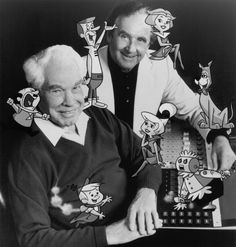 The Museum of the San Fernando Valley: August William Hanna (seated) and Joseph Barbera, 1990 Popular Cartoons, Famous Cartoons, Old Cartoons, Classic Cartoons, Retro Cartoons, William Hanna, Cartoon Books, Cartoon Characters, Joseph Barbera
