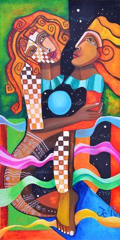 Resonanz Acryl auf Leinwand von Jeanett Rotter  Zwei sehen sich an, hinschauen, mit einander verbunden sein, sich liebevoll dem Raum hingeben von Jeanett Rotter