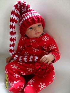 Crochet Baby Elf Hat  Crochet Santa Hat Red White by MadebyMily, $18.00
