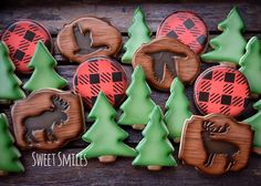 I think this might be my new favourite set! Hunting season is upon us! Cookie Frosting, Royal Icing Cookies, Cupcake Cookies, Sugar Cookies, Cupcakes, Frosted Cookies, Tree Cookies, Fall Cookies, Christmas Cookies