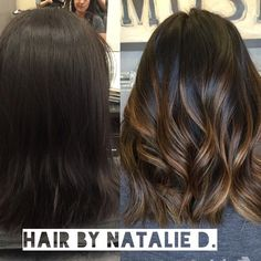 "166 Likes, 19 Comments - Socal MUA/Hair/weddings (@nataliedmakeuphair) on Instagram: "" spruced up her dark hair with some caramel toned highlights! #balayage #balayagehaircolor…"""