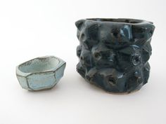 Dark blue primal geometric textured stoneware ceramic pot - Natalie Strachan Ceramics