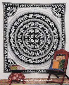 Elephant Mandala Tapestry, Bedcover, wall hanging, Indian Tapestry, Throw Bedspread, Picnic Blanket, Etchnic Decor Mandala art, Wall Decor door jaipurihandicraft op Etsy https://www.etsy.com/nl/listing/183776909/elephant-mandala-tapestry-bedcover-wall