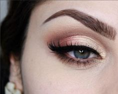 soft shimmery gold and peach eye ~  we :heart: this! http://moncheribridals.com