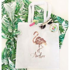 Natural canvas tote bag printed with Flamingo design and custom name in rose gold foil Wedding Canvas, Wedding Bags, Wedding Ideas, Printed Tote Bags, Canvas Tote Bags, Desination Wedding, Rose Gold Foil, Gift Bags, Flamingo